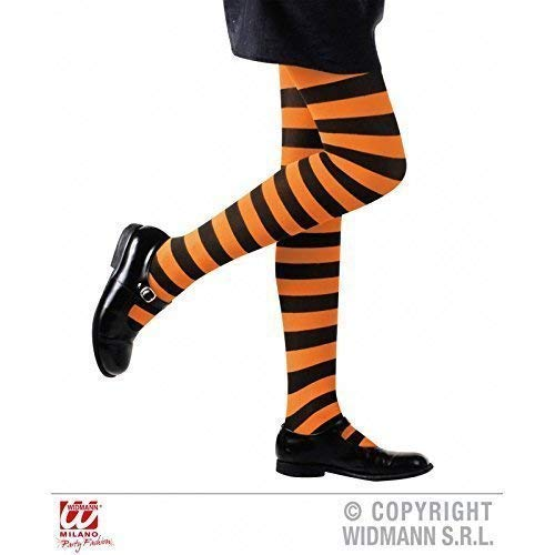Lively Moments Strumpfhose in orange schwarz gestreift für Kinder von 4-6 Jahren für Fasching / Halloween / Hexenkostüm / Kinderkostüm / Halloweenkostüm