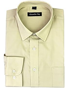 Alexander Hay A017 Camisa de manga larga formal para hombre, diseño liso, 6colores