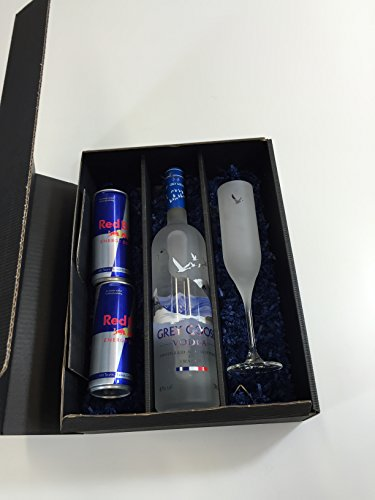 Grey Goose Vodka Geschenk Set - Grey Goose Vodka 700ml (40% Vol) + 2 Red Bull 250ml + Flöten Glas
