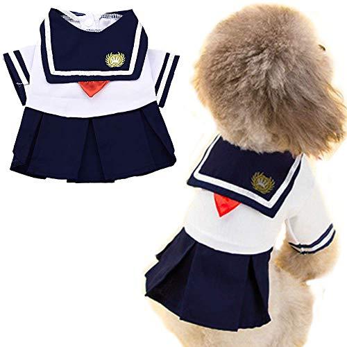 ANIAC Haustierkostüm, Marineblau, Captain Suit Matrose, für Studenten, Uniform mit roter Schleife, süßer Rock, warme Kleidung für Katzen und Hunde, Small