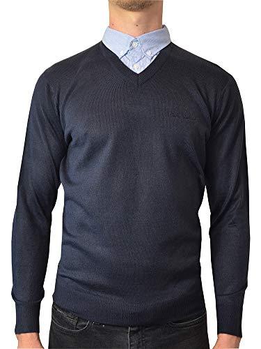 Pierre Cardin neue Jahreszeit V-Ausschnitt-Pullover mit Hemdkragen Mock Hemd Einsatz (XL, Black)