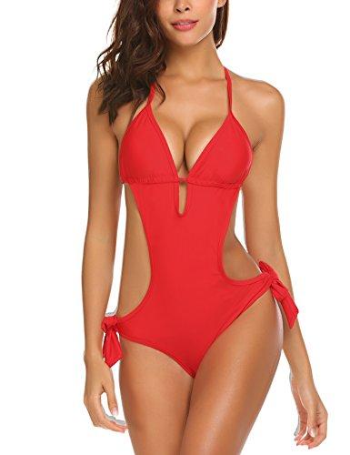 Meaneor_Fashion_Origin Damen Sexy Bikini Monokini Neckholder Badeanzug Rückenfrei One Piece Swimwear einteile Strandmode (Small, Rot)