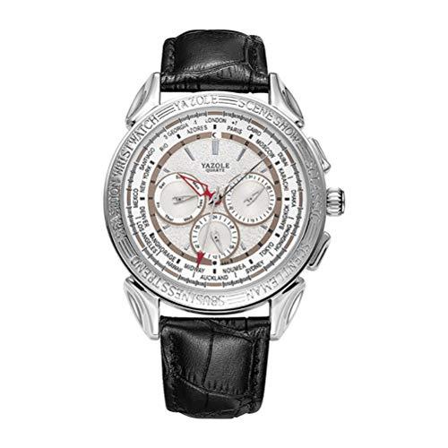 ENCOCO Herren-Quarz-Armbanduhr, Lederband, 12/24 Stunden Formate, Business Casual Uhren mit Datum, Weltzeit # 02
