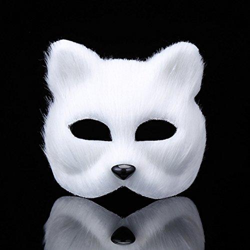 Sel-More Fox Half Face Maske Kostüm Pro für Masquerade Halloween Thema Party, Plastik, weiß, Einheitsgröße