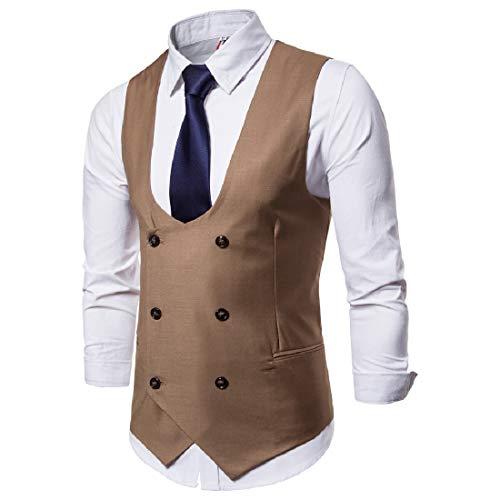 CuteRose Men's Double-Breasted Waistcoat 2Pockets Business Dress Tuxedo Vest Camel M -