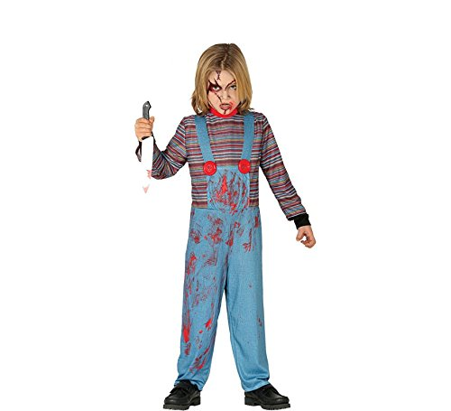 Guirca Killer Puppe Kinder Kostüm für Halloween Horror Party Gr. 110-146, (Chucky Girl Kostüm)