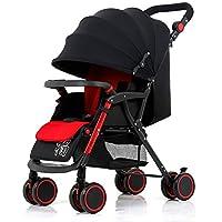 Guo@ Cochecito para bebés, carro infantil ligero Suspensión plegable en las 4 ruedas Empujador