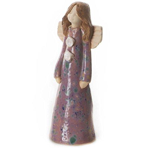 Ange gardien Geraldine, l'ange gardien de Harmony, porte bonheur, décoration en céramique de couleur orange., Céramique, Orange