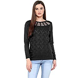 SKiDlers Womens Woolen Sweater (SKD-602-BLACK--Large, Black, Large)