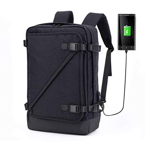 ZLHW Laptop Aktentasche Rucksack 3 Way Convertible Schulter Messenger Bag Business Rucksack 15,6 Zoll Tasche Große Kapazität Gepäck mit Ladeanschluss für Männer und Frauen (Farbe : SCHWARZ) - Convertible Messenger Bag