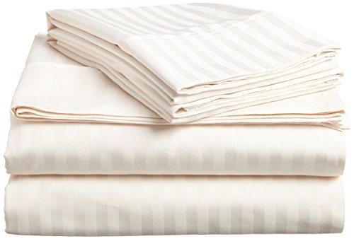 ÖSTLICHEN König Größe Duvet Cover Set Luxus weichen 600 Thread Count 100% ägyptische Baumwolle Bettwäsche Elfenbein Streifen (König Bettwäsche-sets Elfenbein)