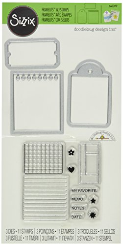 Sizzix Framelits Dies 3/Pkg W/Stamps By Doodlebug-Notebook Paper, Tag & Ticket (Ticket-notebook)