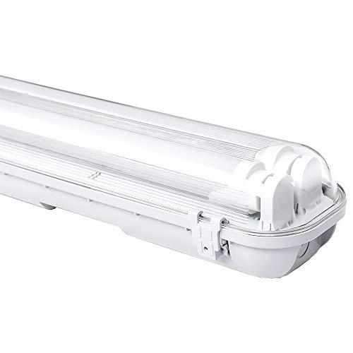 Preisvergleich Produktbild 24W LED Feuchtraumleuchte Kaltweiß 150CM Wannenleuchte Tageslicht Industrie Strahler Werkstatt Beleuchtung IP65 Badlampe Leuchtstoff lamp (2er Set LED Röhre G13)