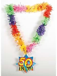 Deko Hawaii Lei Lametta Happy 50th Birthday