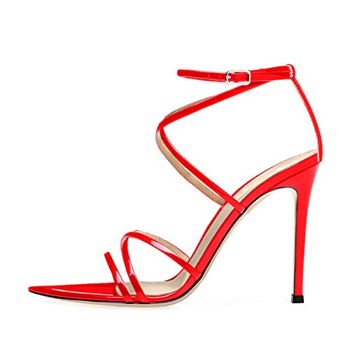 Onlymaker Damen Riemchensandalen Spitze Zehen Open Toe Gladiator Stiletto High Heels Sandaletten Rot 37 EU Ankle Strap Mary Jane Pump