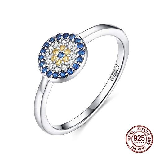 THTHT 925 Sterling Silber Ring Evil Eye Charm Blau GelbFrauen Fingerringe Für Frauen Männer Schmuck Mode, 8 (Ring Eye Evil Männer)