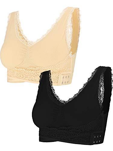 Überprüfen Spitze (2 Stücke Spitze Weste BH Nahtlose Vordere Quer Bras Einstellbare Seitenschnalle BH für Frauen Gym Tragen (Beige, Schwarz, L))