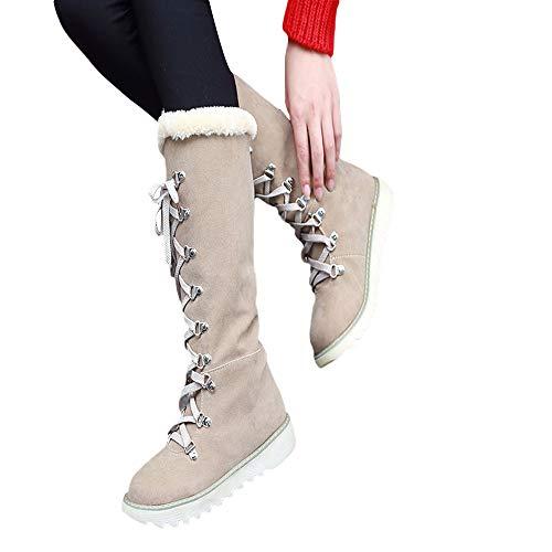 MYMYG Damen Schuhe Wildleder Schnürstiefeletten Elegante Plateau Lace-up Das Knie Anti Rutsch Runde Kappe Snow Boots Freizeitschuhe Stiefeletten Mittlere Stiefel