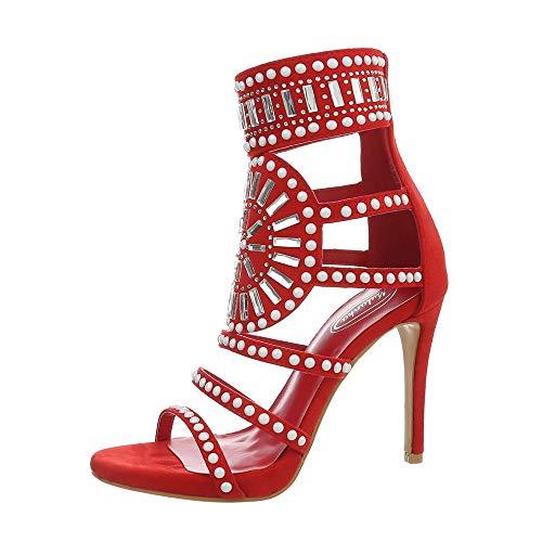 Ital-Design Damenschuhe Sandalen & Sandaletten High Heel Sandaletten Synthetik Rot Gr. 36