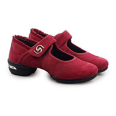 Scarpe da ballo-Non personalizzabile-Da donna-Sneakers da danza moderna-Basso-Tessuto-Nero / Verde / Rosso Red