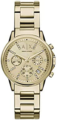A X ARMANI EXCHANGE Womens Quartz Watch, Chronograph Display and Stainless Steel Strap AX4327,Gold