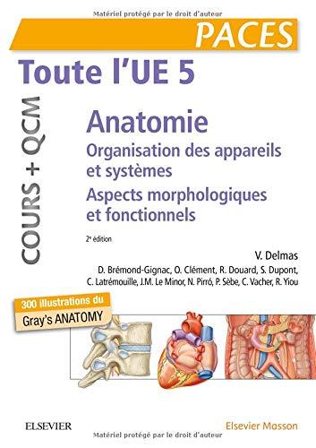 Toute l'UE 5 - Anatomie - Cours + QCM: Organisation des appareils et des systèmes - Aspects morphologiques et fonctionnels par Vincent Delmas