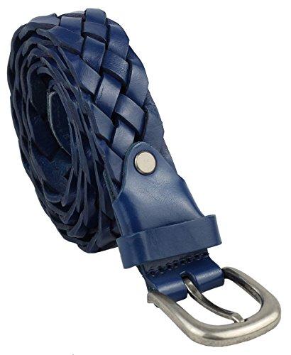 Ceinture vintage unisexe en cuir tressé et ondulé 4 couleurs 1 taille - Bleu - taille unique