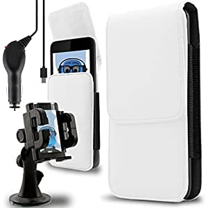 iTALKonline Alcatel Pixi 4 (5) White PREMIUM PU Leather Vertical Executive Side Pouch Case Cover Holster with Belt Loop Clip and Magnetic Closure and 1000 mAh Coiled In Car Charger LED Indicator and Overload Protection with Heavy Duty Car Holder