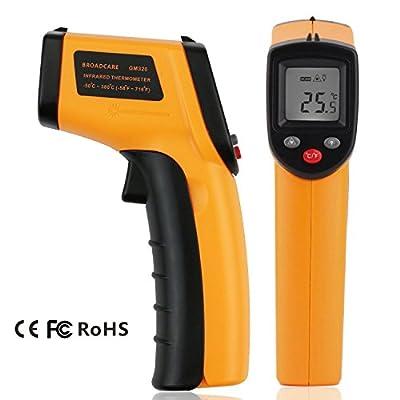 BROADCARE Bemührungslos Infrarot Thermometer mit Pistolengriff -50 ~ 380℃ (-58 ~ 716℉) Pyrometer nicht für Menschen (Ohne Batterien)