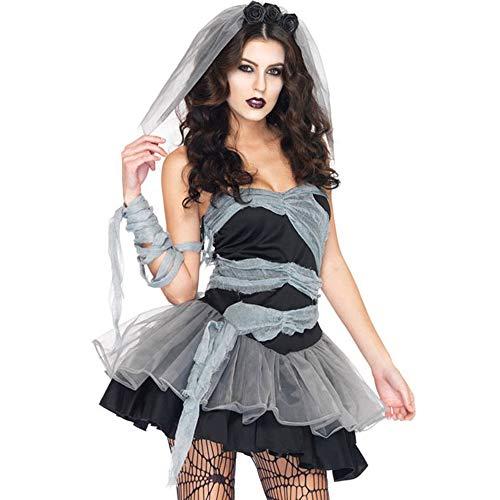 Ninja Ghost Kostüm - XWDQ Europäische Und Amerikanische Damen Spiel Uniformen Halloween Teufel Vampir Zombie Ghost Braut Kostüme Cosplay Kostüme,L