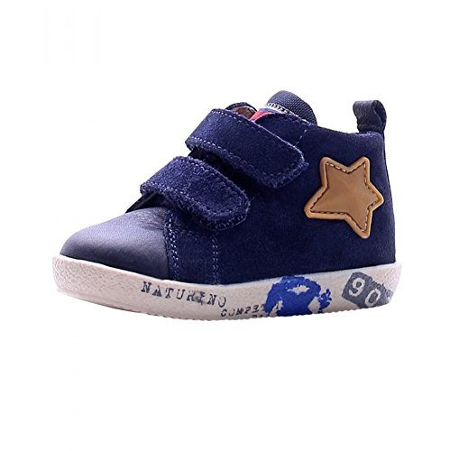 Scarpe bimbo unisex 1100 - Sneaker Falcotto by Naturino 1427 VL Nappa/Velour, Blue, Blu, Numero: 18