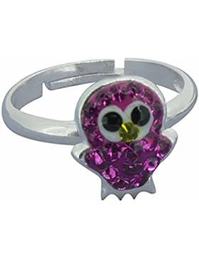 SL-Collection Ring Kinderring Kristall Eule pink Grösse einstellbar 925 Silber
