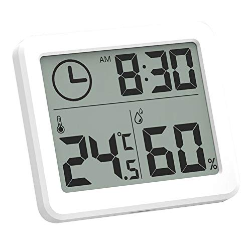 DANMEI Indoor Dry Hygrometer, ultradünnes elektronisches Smart Home-Digitalthermometer und Digitaluhr, 3,2-Zoll-LED-Bildschirm Thermometer Messinstrumente