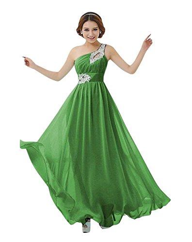 Molly Femmes Une Épaule De Strass Robe Longue Robe De Soirée Vert
