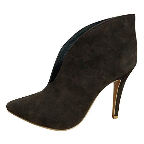 feiXIANG Damen Kurz Stiefel mit Thin High Heels Frauen Freizeitschuhe Abendschuhe Lady Ankle Boots Brautschuhe (Braun,42)