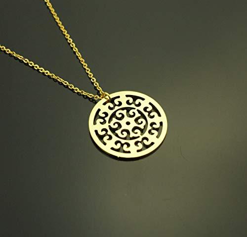Kette Ornament Mandala orientalisches Muster Kreis rund golden Juvelato