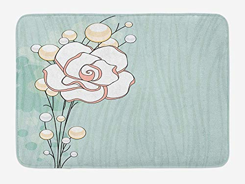 ARTOPB Flower Bath Mat, Romantic Rose Sign of Eternal Love with Pearls The Purity Icon Print, Plush Bathroom Decor Mat with Non Slip Backing, 23.6 W X 15.7 W Inches, Baby Blue White and Pink