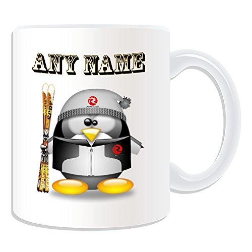 De regalo con mensaje personalizado - taza de desayuno de esquí pingüino diseño de traje de baño...