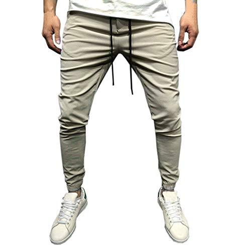 Uomo casual sportwear pantaloni larghi da jogger lunghi alla caviglia pantaloni della tuta-pantaloni sportiva uomo, sportivi tether marea per il tempo libero moda estivo (beige,m)