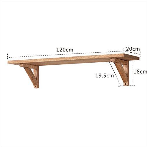 Shelf Einfache moderne Massivholz-weiße Eiche, Wohnzimmer Wand, Wort-Trennwand gestell, gestell, Halterung (größe : 120*20*18cm) -