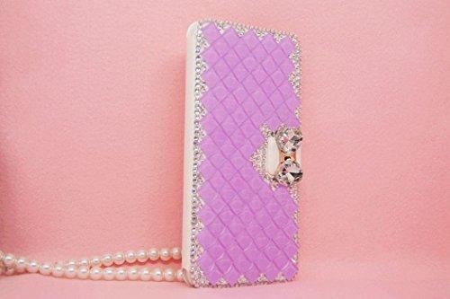 iPhone 6Plus/6S Plus Fall, Handwerk von jabit Luxus Bling Strass Wallet Schutzhülle Ultrathin magnetischem Ständer Kristall Leder Book Cover Schutzhülle Schutzhülle 4Farben, Violett