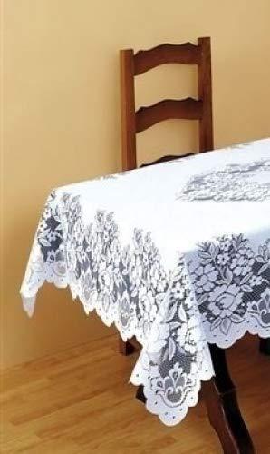 Superbe nappe de table blanche lourde en dentelle 32 \