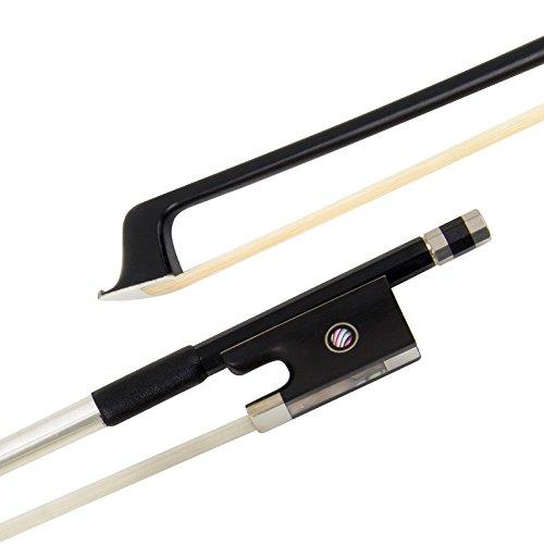 Kmise Geigenbogen Violinenbogen 4/4 Größe Schwarz Kohlefaser Bogen für Geige Fiddle mit Mongolisch Rosshaar Ebenholzfrosch für Anfänger