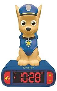 LEXIBOOK- Reloj Despertador de La Patrulla Canina con Pantalla LCD Digital y Luz Nocturna Chase Marshall Paw Patrol, Color Azul,