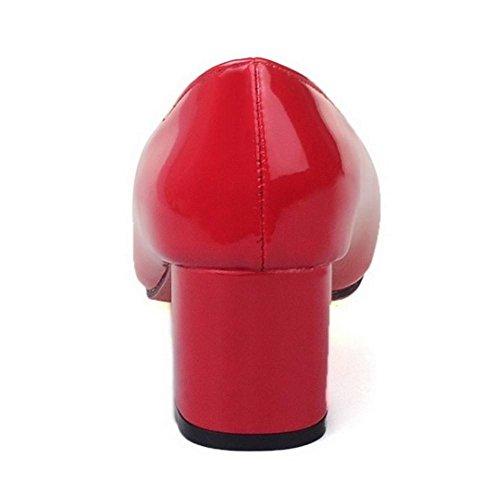 TAOFFEN Damen Elegant Blockabsatz Schuhe Party Dress Pumps Rot