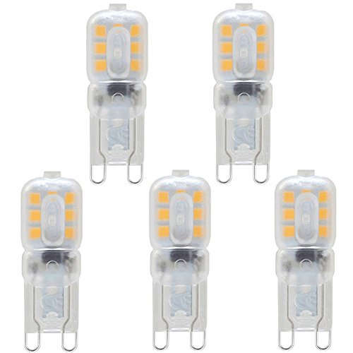 5-Pack, G9 LED Bulb - 3W / 270LM, 33W G9 Halogen Bulbs Equivalent, Warm White 3000K, 360° Beam Angle with Transparent Lens, 220-240V Test