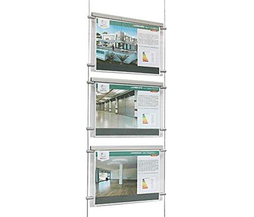 Espositore a cavetti luminoso da vetrina, EVO LED KIT 1x3, con 3 cartelle in plexiglass formato A4 orizzontale, porta annunci per agenzie immobiliari, agenzie di viaggi, studi fotografici, ecc.