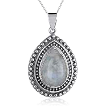 aden' S Jewels–Colgante de piedra de luna forma gota doble engaste granos de plata