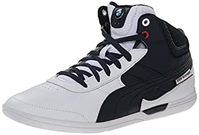 PUMA Men's BMW MS MCH Mid Motorsport Shoe, White/BMW Team Blue, 6.5 M US