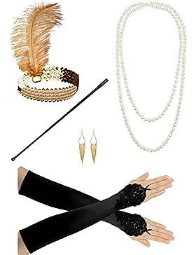 1920s Diadema Collar collar de perlas Accesorios de disfraces Flapper Costume Set